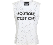 Studded Printed Cotton-jersey Top White