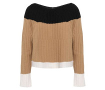 Color-block Ribbed Wool And Cashmere-blend Sweater Camel