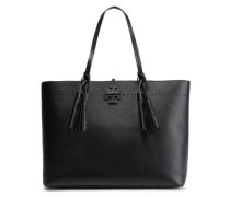 Woman Mcgraw Tassel-trimmed Logo-embellished Textured-leather Tote Black
