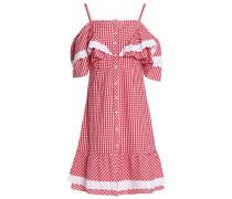 Carter cold-shoulder ruffled gingham cotton-poplin dress
