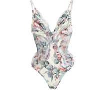Ruffled mesh-paneled floral-print swimsuit