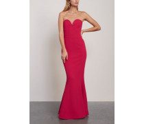 Dahlia Strapless Fluted Crepe Gown Magenta