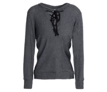 Lace-up brushed ribbed-knit sweater