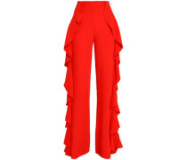 Ruffled Crepe Flared Pants Tomato Red