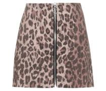 Zip-detailed Leopard-print Stretch-cotton Twill Mini Skirt Animal Print Size 0