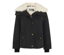 Shearling-trimmed twill jacket