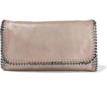Falabella Metallic Faux Brushed-leather Clutch Mushroom Size --