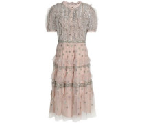 Tiered embellished ruffled tulle dress