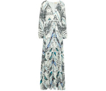 Printed Chiffon Maxi Dress Coverup Multicolor