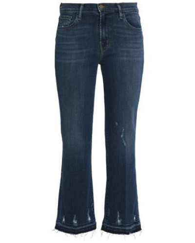 Distressed mid-rise kick-flare jeans