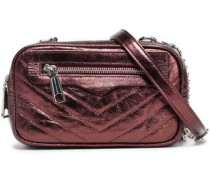 Double Zip Quilted Crinkled-leather Shoulder Bag Bronze Size --