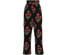 Floral-print Crepe Straight-leg Pants Black