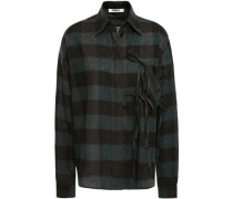 Woman Bow-embellished Checked Wool-jacquard Shirt Dark Green