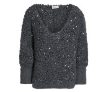 Sequin-embellished bouclé-knit sweater