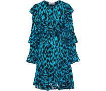 Woman Ruffled Flocked Silk Crepe De Chine Dress Azure