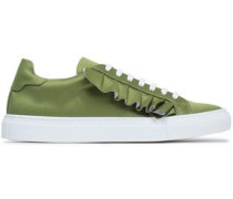 Ruffle-trimmed Satin Sneakers Leaf Green