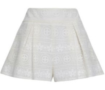 Pleated Lace Shorts White