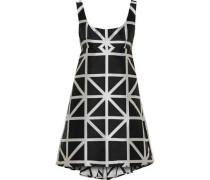 Roxanne Flared Satin-jacquard Mini Dress Black Size 12