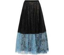 Zaneen Two-tone Chantilly Lace Midi Skirt Black