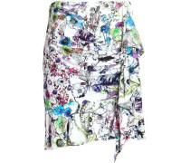 Ruched printed crepe mini skirt