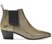 Metallic cracked-leather ankle boots