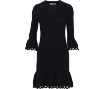 Crochet Knit-trimmed Ribbed Cotton Mini Dress Navy