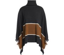 Fringe-trimmed striped cashmere turtleneck poncho