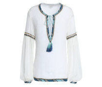 Tasseled Embroidered Crepe De Chine Top White