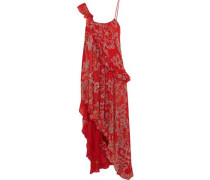Asymmetric embellished silk-georgette dress