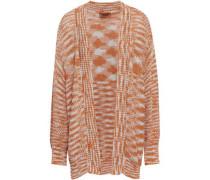 Metallic Crochet-knit Cardigan Orange