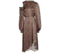 Cutout floral-print silk midi dress