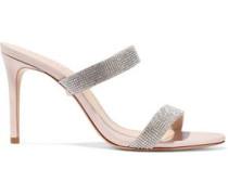 Beatriz Crystal-embellished Leather Mules Pastel Pink