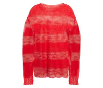 Woman Striped Mohair-blend Sweater Red