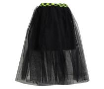 Knit-trimmed Tulle Midi Wrap Skirt Black
