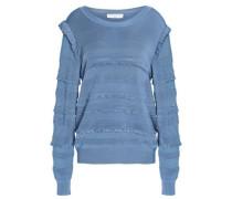Ruffled stretch-knit sweater