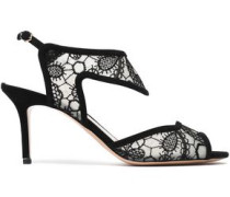 Suede-trimmed embroidered mesh sandals