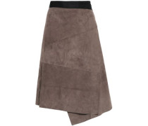Woman Two-tone Suede Skirt Taupe