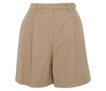 Pleated cotton and linen-blend twill shorts