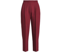 Cropped wool and silk-blend tapered pants