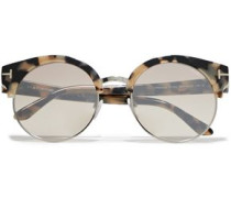 Woman Alissa Round-frame Acetate And Gold-tone Sunglasses Neutral