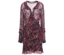 Ruffled Georgette Mini Wrap Dress Teal