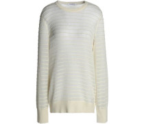 Ribbed open-knit cotton and silk-blend sweater