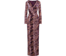 Woman Dianora Wrap-effect Devoré-velvet Gown Purple