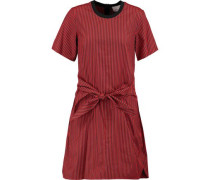Knotted striped cotton and silk-blend dress