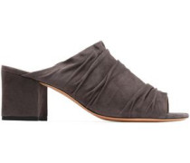 Ruched suede mules