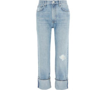Cropped Distressed Straight-leg Jeans Light Denim  5