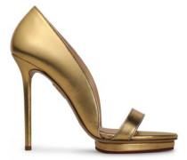 Metallic Leather Platform Sandals Gold