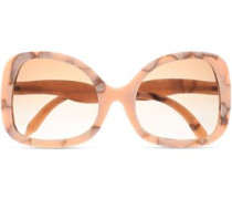Butterfly-frame printed acetate sunglasses