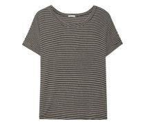 Toni Striped Stretch-jersey Pajama Top Black
