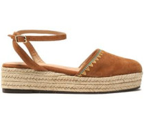 Elena embroidered suede espadrille platform sandals